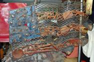 """Red White and Blue Collar,Found Objects, Tools, Railroad Spikes, Rust, Acrylic Paint, Gilders Paste,  H 30"""" x W 45"""""""